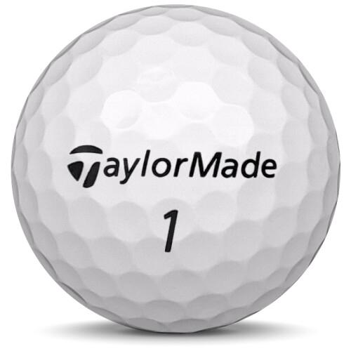 Golfboll av modellen Taylormade TP5 i 2020 års version med vit färg framifrån