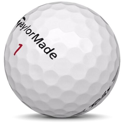 Golfboll av modellen TaylorMade TP5x i 2020 års version med vit färg sned bild