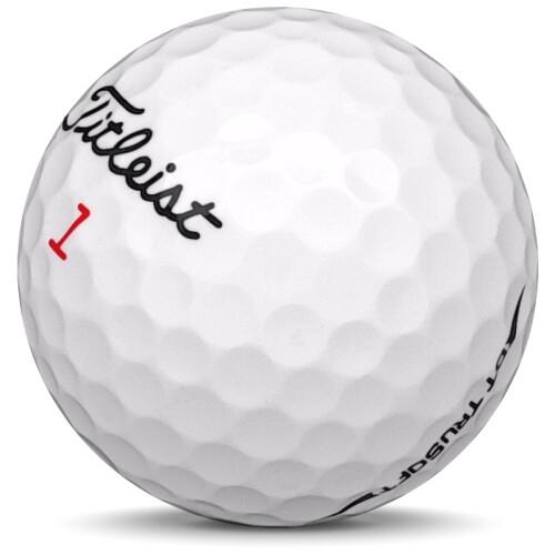 Golfboll av modellen Titleist DT Trusoft i 2019 års version med vit färg sned bild
