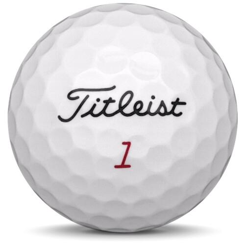 Golfboll av modellen Titleist NXT Tour i 2017 års version med vit färg framifrån