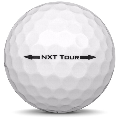 Golfboll av modellen Titleist NXT Tour i tidigare års versioner med vit färg från sidan