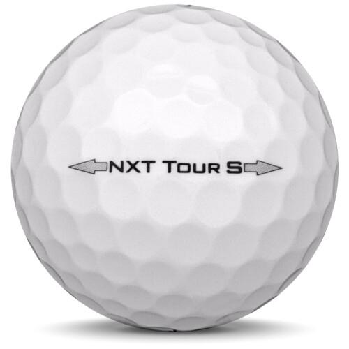 Golfboll av modellen Titleist NXT Tour S i tidigare års versioner med vit färg från sidan