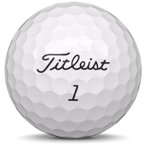 Golfboll av modellen Titleist Pro v1 i 2016 års version med vit färg framifrån