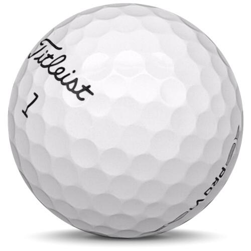 Golfboll av modellen Titleist Pro v1 i 2016 års version med vit färg sned bild