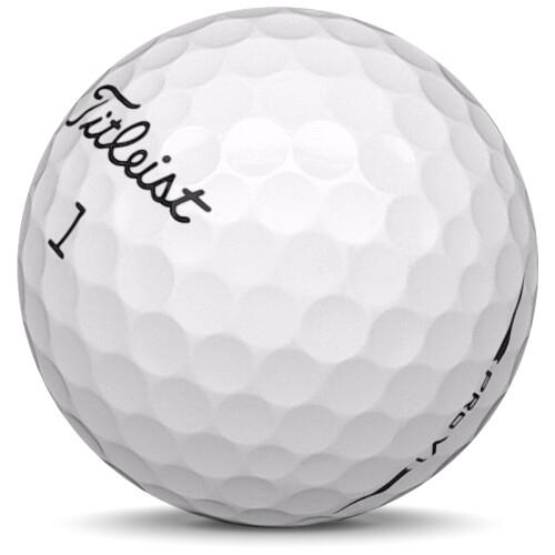 Golfboll av modellen Titleist Pro v1 i 2018 års version med vit färg sned bild