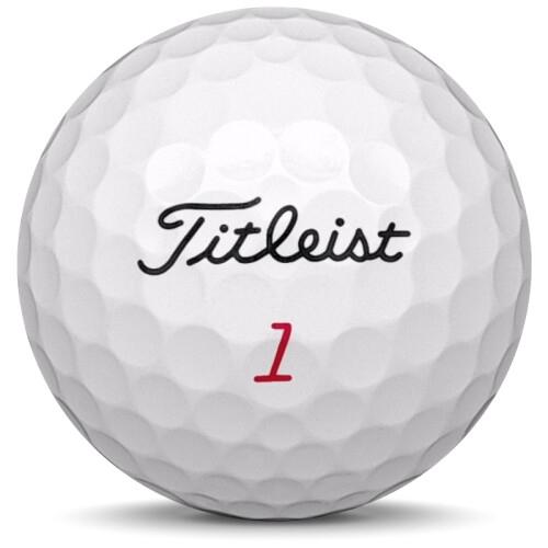 Golfboll av modellen Titleist Pro v1x i 2016 års version med vit färg framifrån