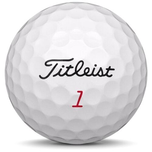 Golfboll av modellen Titleist Pro v1x i 2018 års version med vit färg framifrån