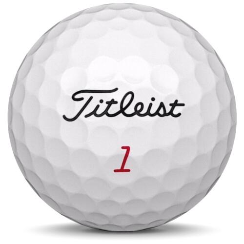 Golfboll av modellen Titleist Pro v1x i 2020 års version med vit färg framifrån