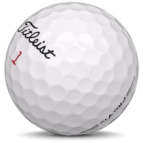 Golfboll av modellen Titleist Pro v1x i 2020 års version med vit färg sned bild