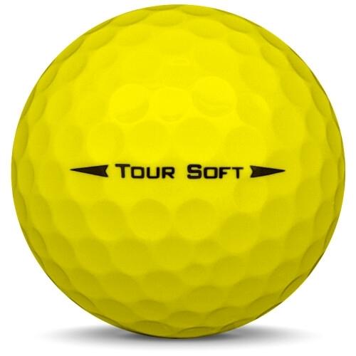 Golfboll av modellen Titleist Tour Soft i 2019 års version med gul färg från sidan