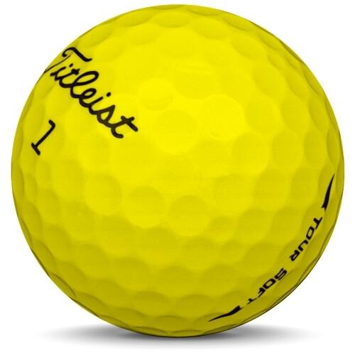 Golfboll av modellen Titleist Tour Soft i 2019 års version med gul färg sned bild