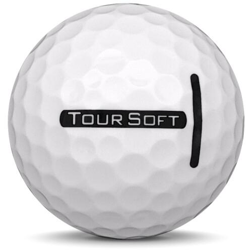 Golfboll av modellen Titleist Tour Soft i 2021 års version med vit färg från sidan