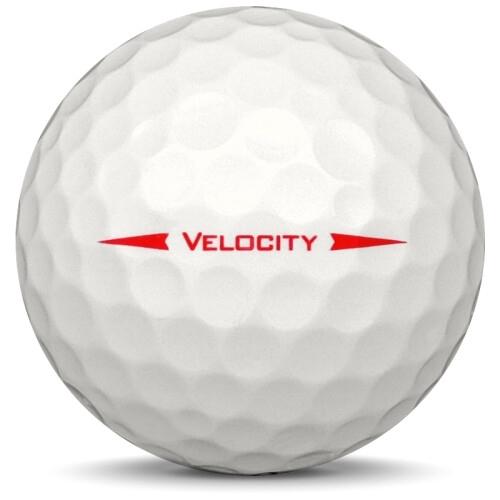 Golfboll av modellen Titleist Velocity i 2019 års version med visi white färg från sidan