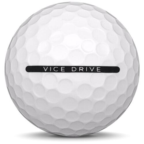 Golfboll av modellen Vice Drive i 2019 års version med vit färg från sidan