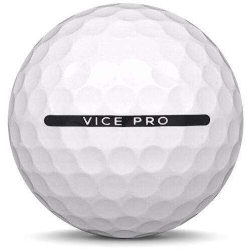 Golfboll av modellen Vice Pro i 2019 års version med vit färg från sidan