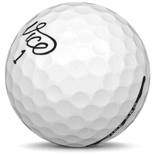 Golfboll av modellen Vice Pro i 2019 års version med vit färg sned bild