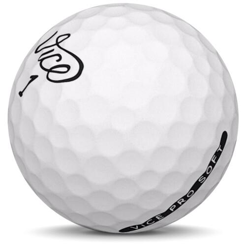 Golfboll av modellen Vice Pro Soft i 2019 års version med matt vit färg sned bild