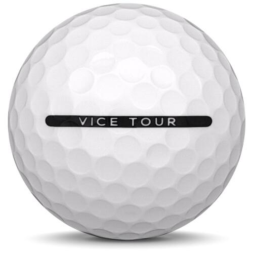 Golfboll av modellen Vice Tour i 2019 års version med vit färg från sidan