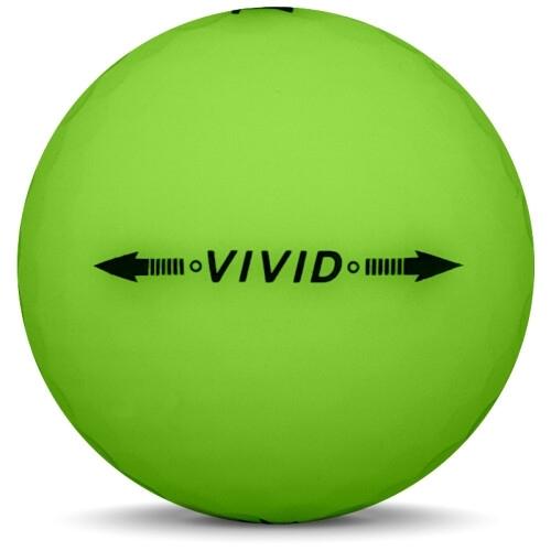 Golfboll av modellen Volvik VIVID i 2018 års version med grön färg från sidan