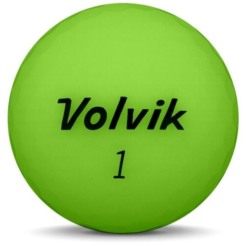 Golfboll av modellen Volvik VIVID i 2018 års version med grön färg framifrån