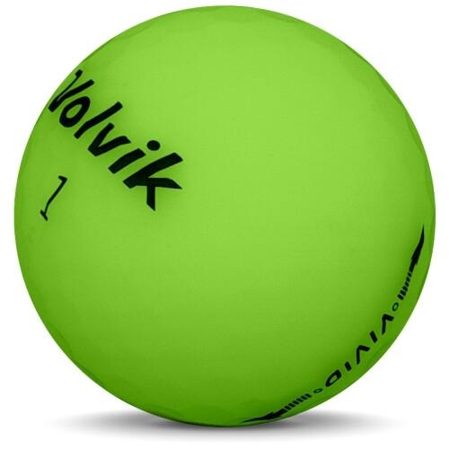 Golfboll av modellen Volvik VIVID i 2018 års version med grön färg sned bild