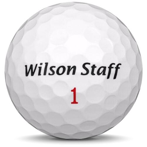 Golfboll av modellen Wilson Staff Duo i vit färg sned bild