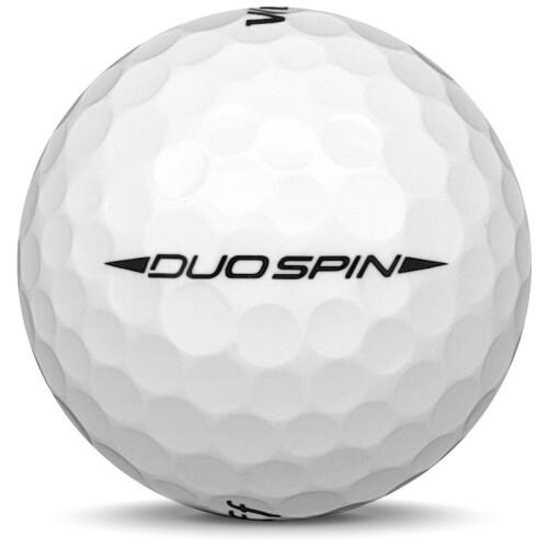 Golfboll av modellen Wilson Staff Duo Spin i vit färg från sidan