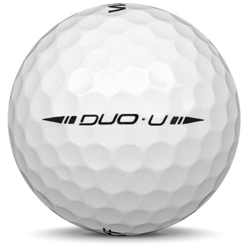 Golfboll av modellen Wilson Staff Duo Urethane i vit färg från sidan