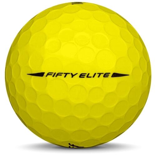 Golfboll av modellen WIlson Staff Fifty Elite i 2018 års version med gul färg från sidan