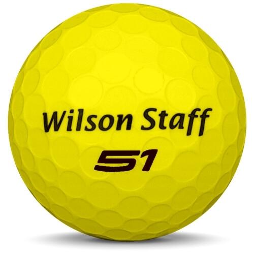 Golfboll av modellen WIlson Staff Fifty Elite i 2018 års version med gul färg framifrån