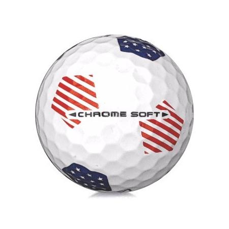 Golfboll av modellen Callaway Chrome Soft i 2019års version med rydercup mönster