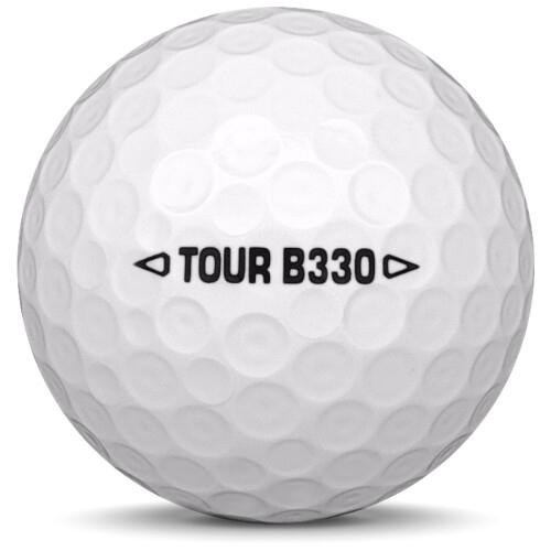 Golfboll av modellen Bridgestone B330 i vit färg från sidan