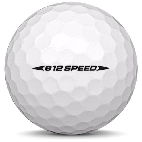 Golfboll av modellen Bridgestone E12 Speed i 2020 års version med vit färg från sidan