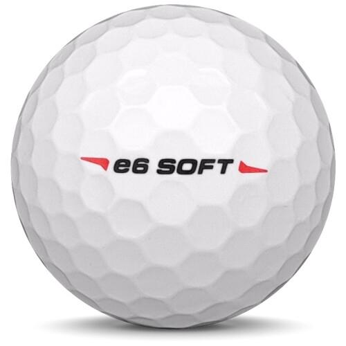 Golfboll av modellen Bridgestone E6 Soft i 2018 års version med vit färg från sidan