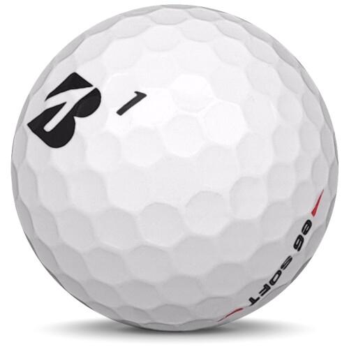 Golfboll av modellen Bridgestone E6 Soft i 2018 års version med vit färg sned bild