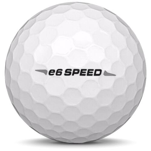 Golfboll av modellen Bridgestone E6 Speed i 2018 års version med vit färg från sidan