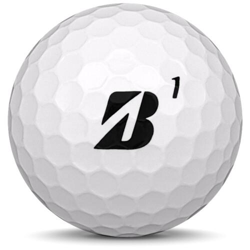 Golfboll av modellen Bridgestone E6 Speed i 2018 års version med vit färg framifrån