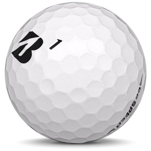 Golfboll av modellen Bridgestone E6 Speed i 2018 års version med vit färg sned bild