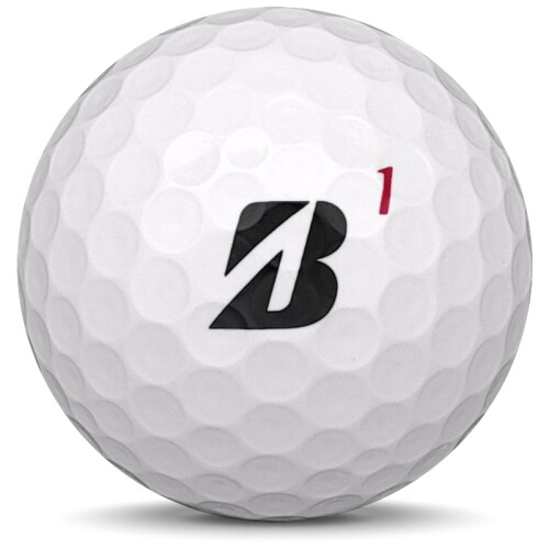 Golfboll av modellen Bridgestone Tour B RX i 2019 års version med vit färg framifrån