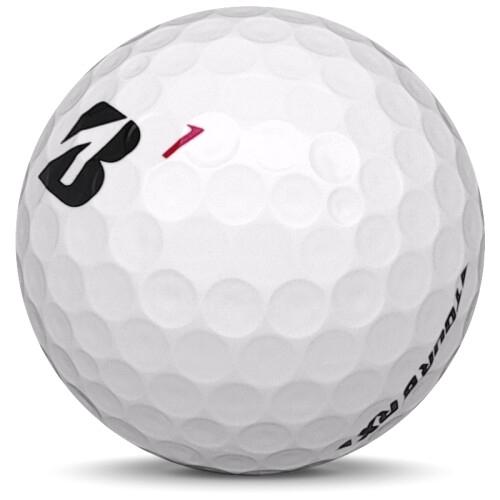 Golfboll av modellen Bridgestone Tour B RX i 2019 års version med vit färg sned bild