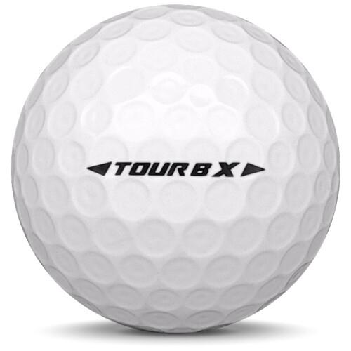 Golfboll av modellen Bridgestone Tour B X i 2019 års version med vit färg från sidan