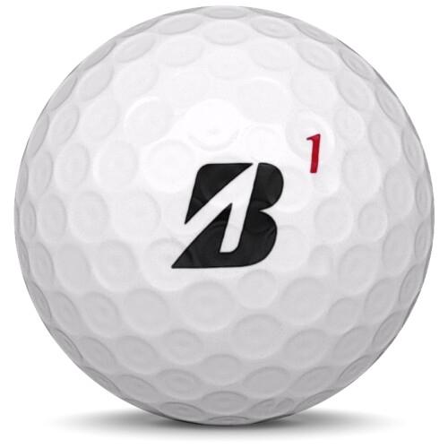 Golfboll av modellen Bridgestone Tour B X i 2019 års version med vit färg framifrån