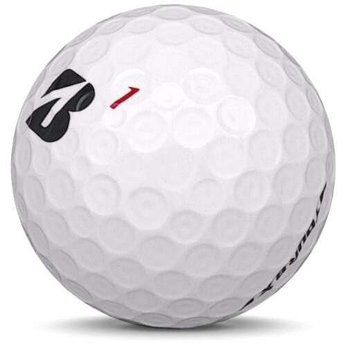 Golfboll av modellen Bridgestone Tour B X i 2019 års version med vit färg sned bild