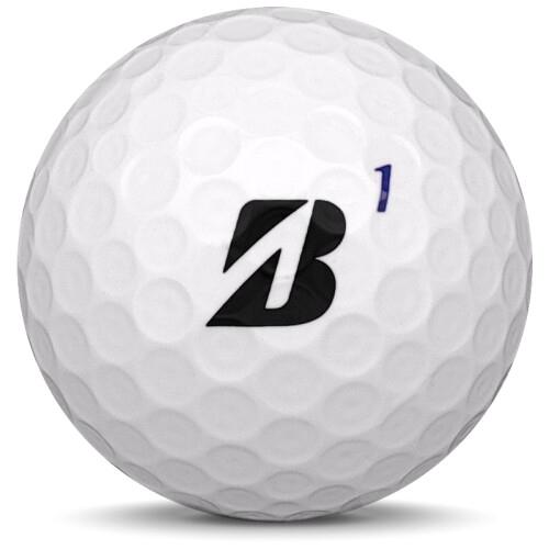 Golfboll av modellen Bridgestone Tour B XS i 2019 års version med vit färg framifrån