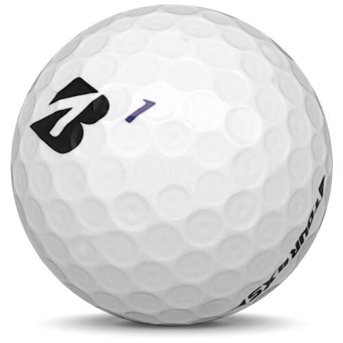 Golfboll av modellen Bridgestone Tour B XS i 2019 års version med vit färg sned bild