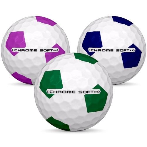 Golfbollar av modellen Callaway Chrome Soft i 2017 års version i blandade färger