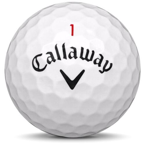 Golfboll av modellen Callaway Chrome Soft i 2019 års version med vit färg framifrån