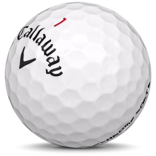 Golfboll av modellen Callaway Chrome Soft i 2019 års version med vit färg sned bild