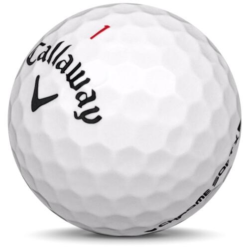 Golfboll av modellen Callaway Chrome Soft x i 2019 års version med vit färg sned bild