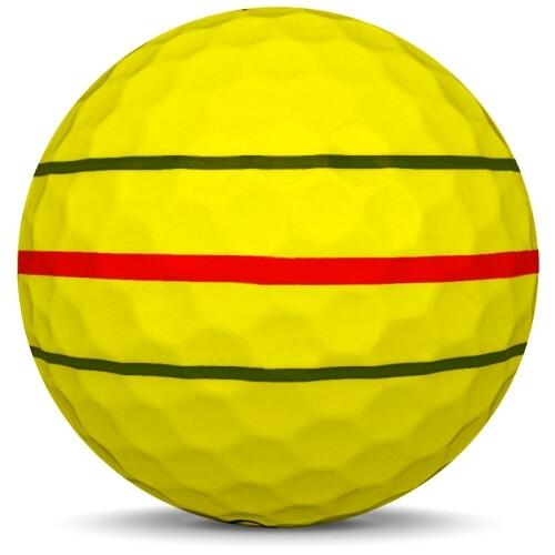 Golfboll av modellen Callaway ERC Soft i 2020 års version med gul färg från sidan